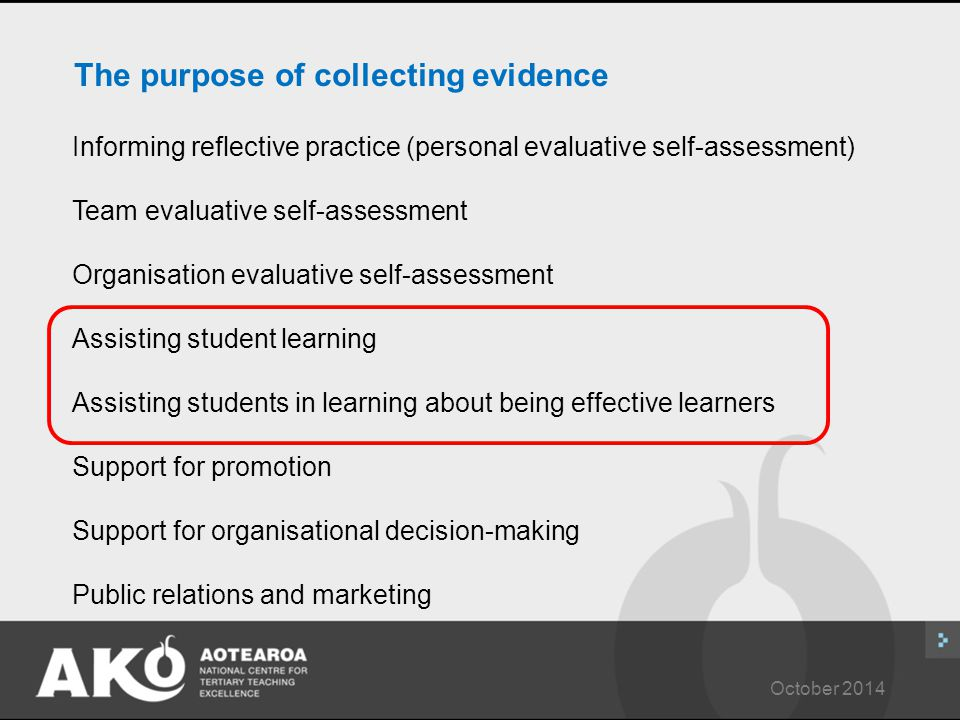 October 2014 The purpose of collecting evidence Informing reflective practice (personal evaluative self-assessment) Team evaluative self-assessment Organisation evaluative self-assessment Assisting student learning Assisting students in learning about being effective learners Support for promotion Support for organisational decision-making Public relations and marketing