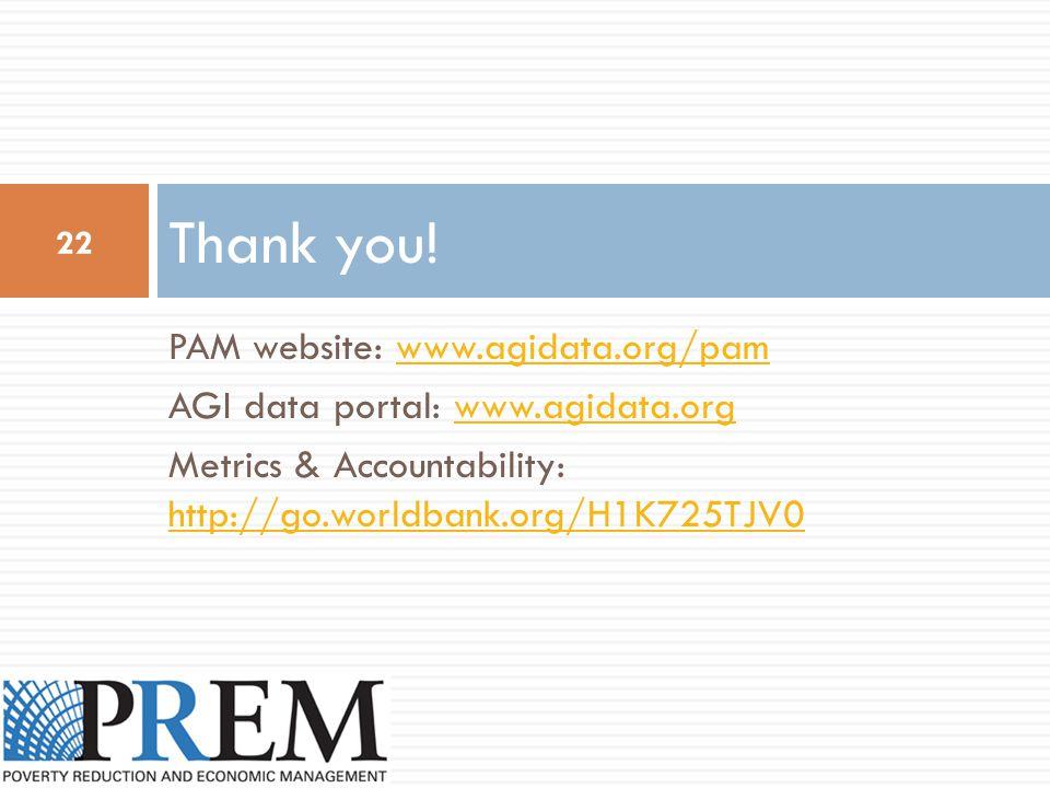 PAM website: www.agidata.org/pamwww.agidata.org/pam AGI data portal: www.agidata.orgwww.agidata.org Metrics & Accountability: http://go.worldbank.org/H1K725TJV0 http://go.worldbank.org/H1K725TJV0 Thank you.