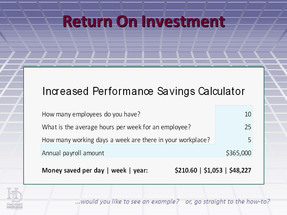 Return On Investment or, go straight to the how-to?…would you like to see an example?