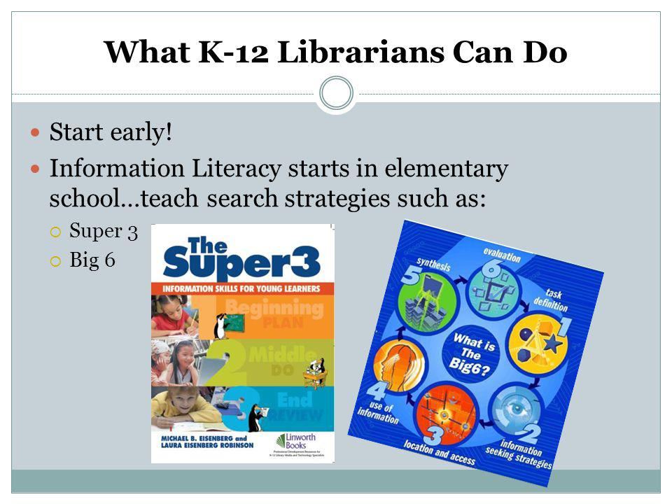 What K-12 Librarians Can Do Start early.