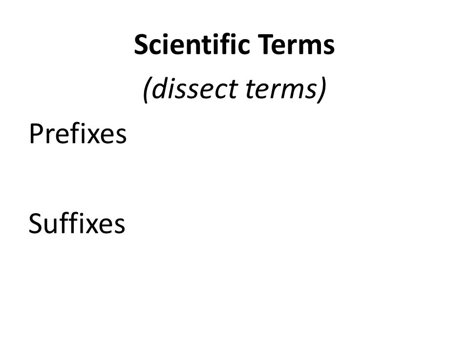Scientific Terms (dissect terms) Prefixes come before root word Suffixes