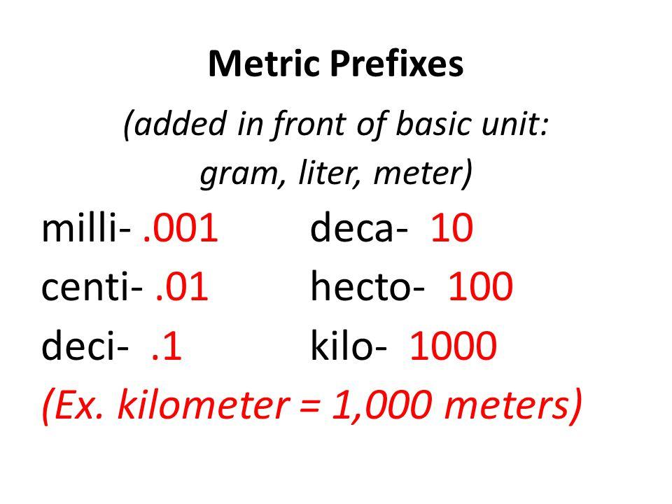 Metric Prefixes (added in front of basic unit: gram, liter, meter) milli-.001deca- 10 centi-.01hecto- 100 deci-.1kilo- 1000 (Ex. kilometer = 1,000 met