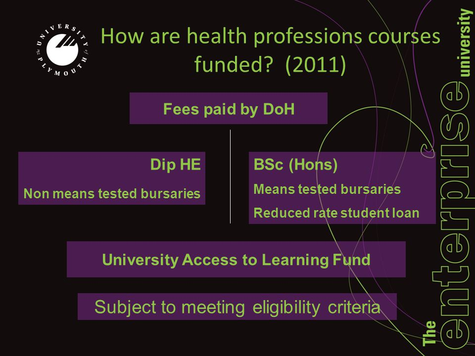 How are health professions courses funded.