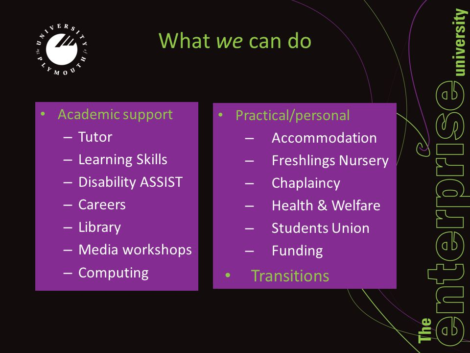 What we can do Academic support – Tutor – Learning Skills – Disability ASSIST – Careers – Library – Media workshops – Computing Practical/personal – Accommodation – Freshlings Nursery – Chaplaincy – Health & Welfare – Students Union – Funding Transitions