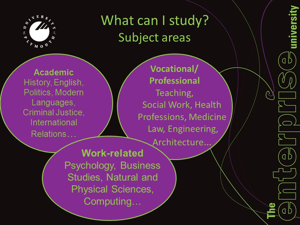 What can I study? Subject areas Vocational/ Professional Teaching, Social Work, Health Professions, Medicine Law, Engineering, Architecture … Work-rel