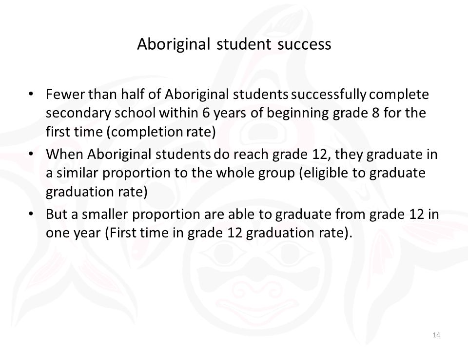 Fewer than half of Aboriginal students successfully complete secondary school within 6 years of beginning grade 8 for the first time (completion rate) When Aboriginal students do reach grade 12, they graduate in a similar proportion to the whole group (eligible to graduate graduation rate) But a smaller proportion are able to graduate from grade 12 in one year (First time in grade 12 graduation rate).