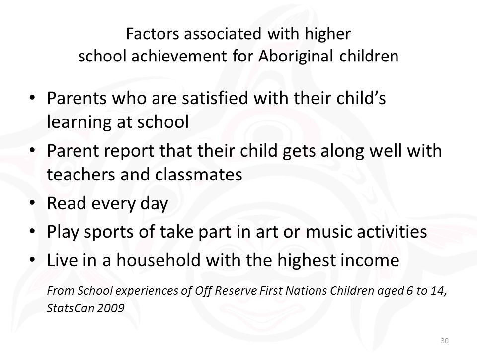 Parents who are satisfied with their child's learning at school Parent report that their child gets along well with teachers and classmates Read every day Play sports of take part in art or music activities Live in a household with the highest income From School experiences of Off Reserve First Nations Children aged 6 to 14, StatsCan 2009 Factors associated with higher school achievement for Aboriginal children 30