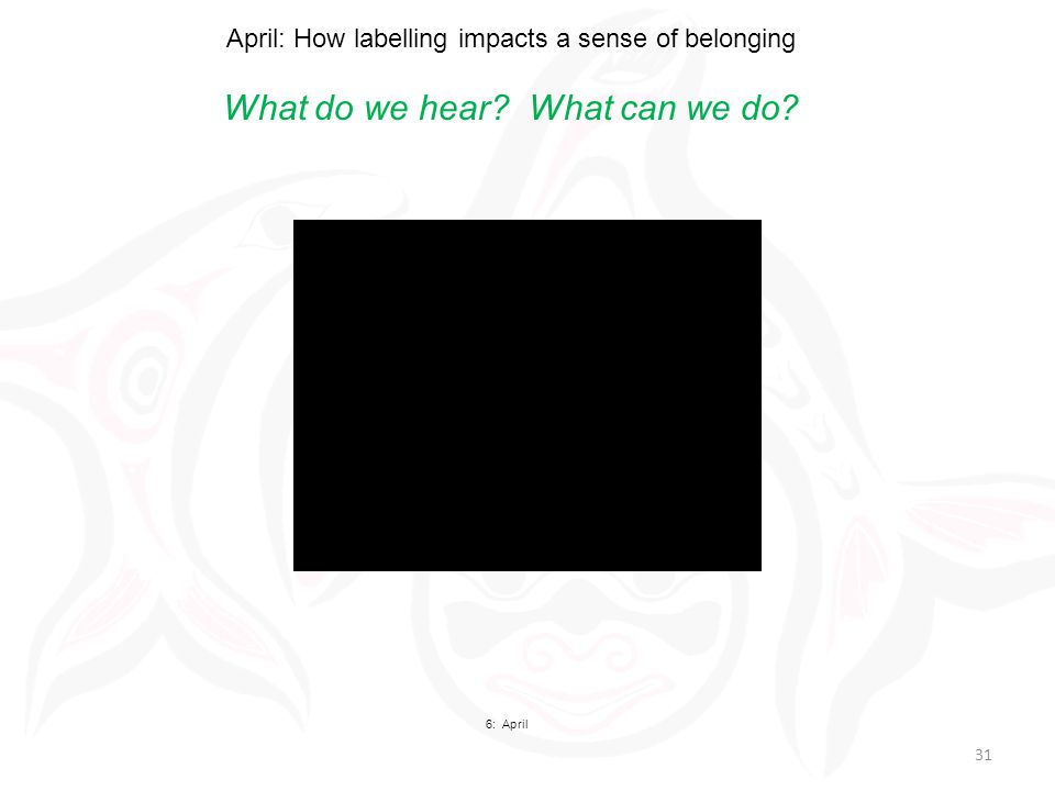 April: How labelling impacts a sense of belonging What do we hear What can we do 6: April 31