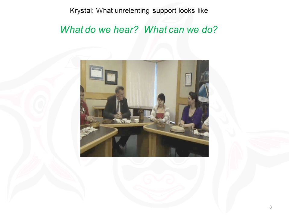 Krystal: What unrelenting support looks like What do we hear What can we do 8