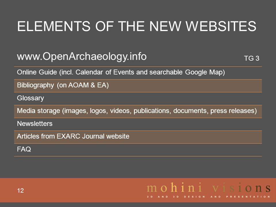 ELEMENTS OF THE NEW WEBSITES 12 www.OpenArchaeology.info Online Guide (incl. Calendar of Events and searchable Google Map) Bibliography (on AOAM & EA)