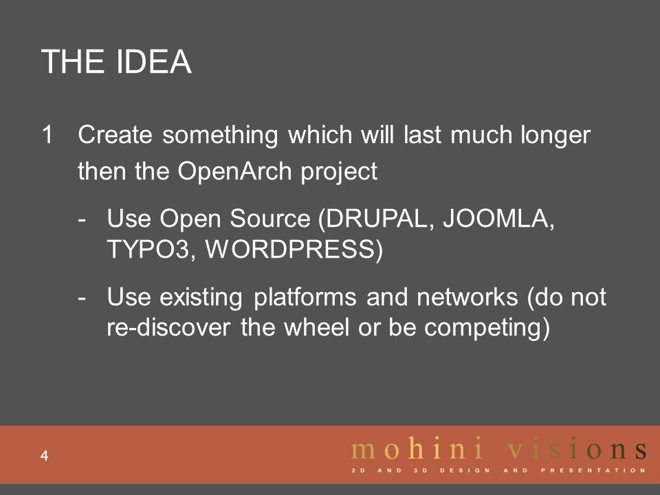 THE IDEA 5 1Create something which will last much longer then the OpenArch project 2 Combine existing OWN websites & their info