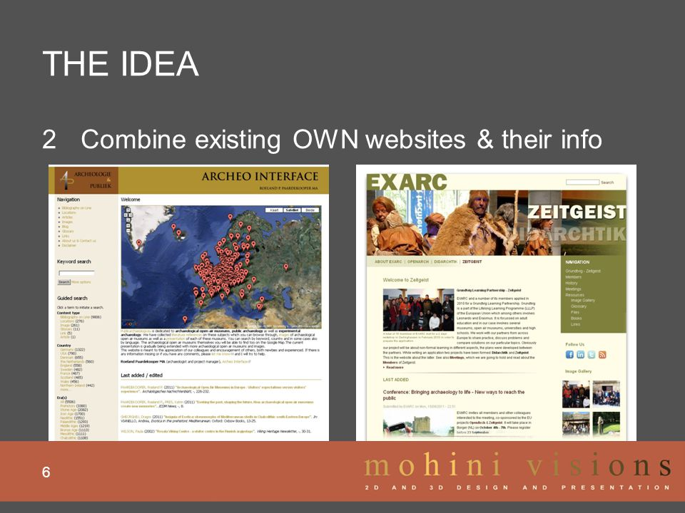 THE IDEA 6 2 Combine existing OWN websites & their info