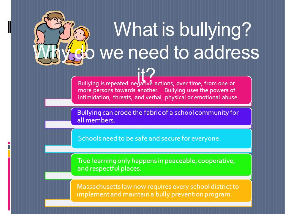 Bullying is repeated negative actions, over time, from one or more persons towards another.
