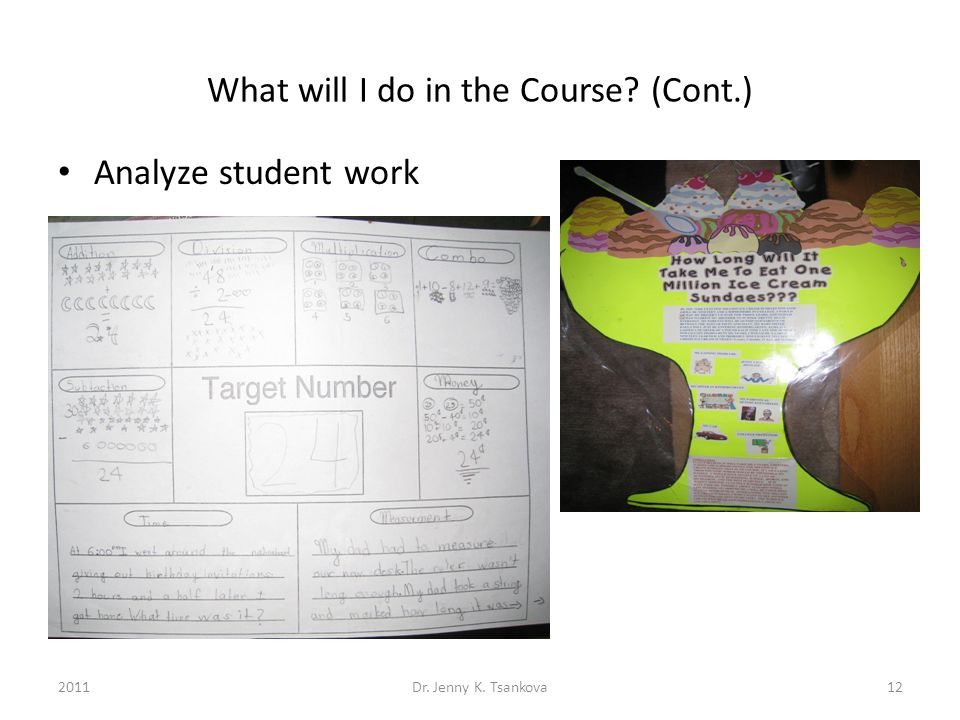 What will I do in the Course (Cont.) Analyze student work 12Dr. Jenny K. Tsankova2011