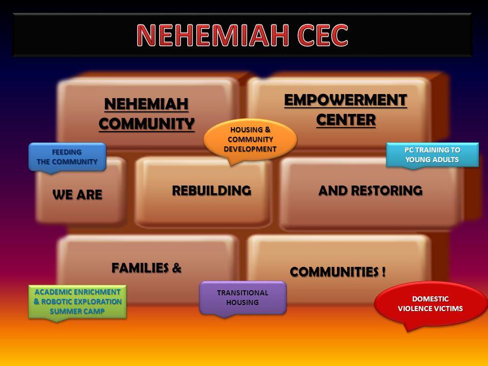 REBUILDING NEHEMIAHCOMMUNITY COMMUNITIES ! FAMILIES & EMPOWERMENT CENTER AND RESTORING WE ARE FEEDING THE COMMUNITY FEEDING HOUSING & COMMUNITY DEVELO