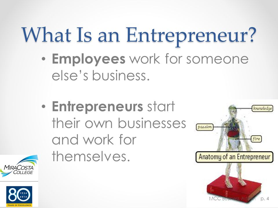 What Is an Entrepreneur. Employees work for someone else's business.