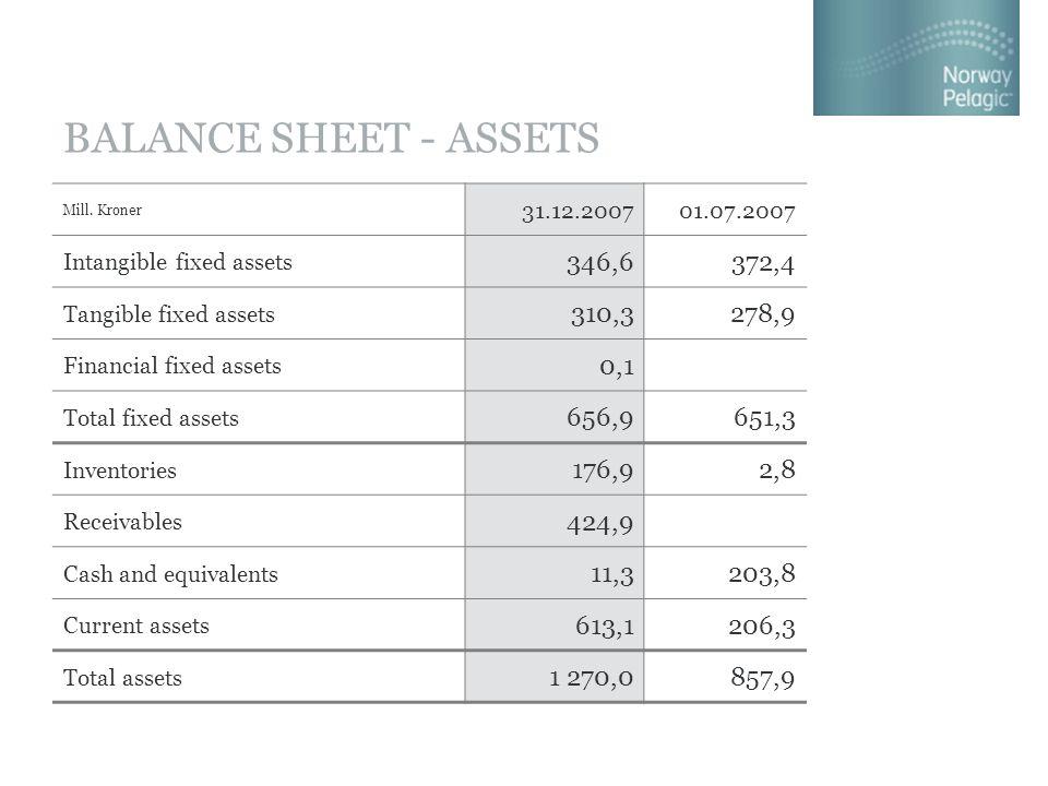 BALANCE SHEET - ASSETS Mill. Kroner 31.12.200701.07.2007 Intangible fixed assets 346,6372,4 Tangible fixed assets 310,3278,9 Financial fixed assets 0,