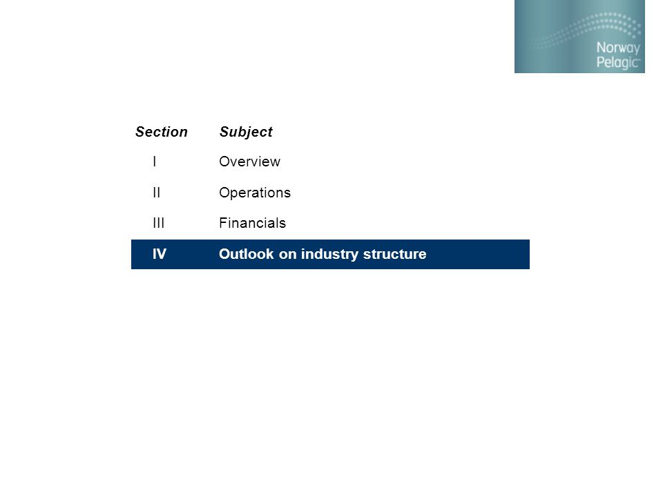 Overview Operations Financials Outlook on industry structure SectionSubject I II III IV