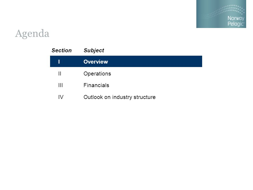 Agenda Overview Operations Financials Outlook on industry structure SectionSubject I II III IV