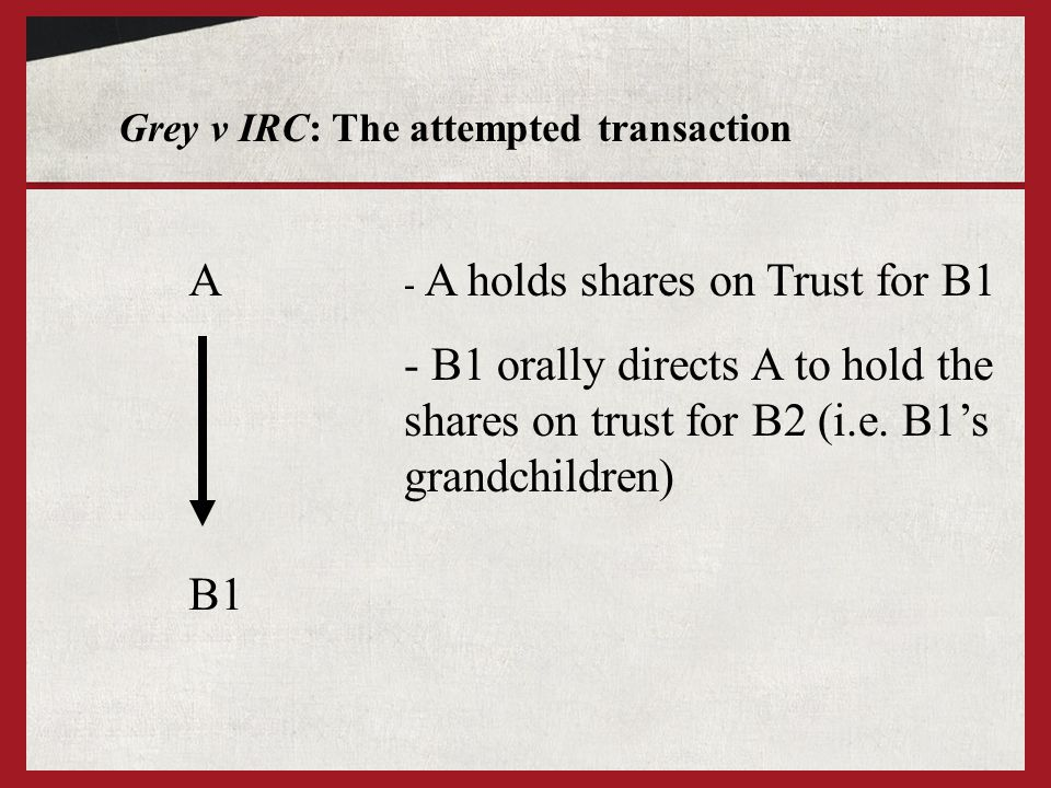 Analysing re Vandervell (No 2) - if signed writing is not required, then A2 holds the shares on Trust for B2 as: i) A2 held the initial option on Trust for B1; but ii) B1 has successfully directed that the shares should be held on Trust for B2 - From a different point of view, the attempted transaction seems analogous to that in Vandervell v IRC (see next slide) as A2's involvement is necessary for the transaction to take place (A2 must exercise the option to buy the shares)