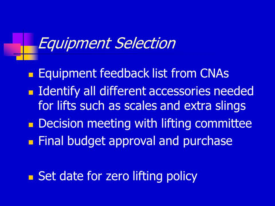 Equipment Selection Equipment feedback list from CNAs Identify all different accessories needed for lifts such as scales and extra slings Decision meeting with lifting committee Final budget approval and purchase Set date for zero lifting policy