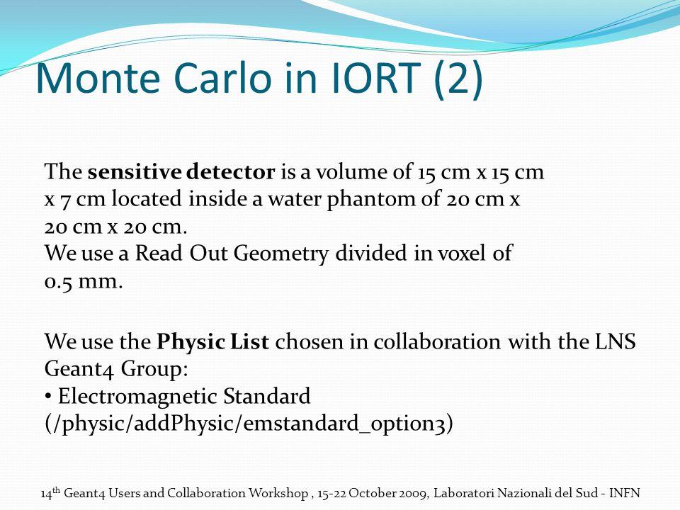 Monte Carlo in IORT (2) The sensitive detector is a volume of 15 cm x 15 cm x 7 cm located inside a water phantom of 20 cm x 20 cm x 20 cm.