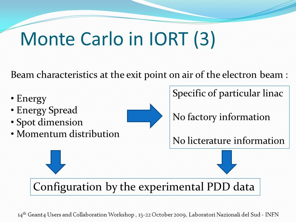 Monte Carlo in IORT (3) Beam characteristics at the exit point on air of the electron beam : Energy Energy Spread Spot dimension Momentum distribution Specific of particular linac No factory information No licterature information Configuration by the experimental PDD data 14 th Geant4 Users and Collaboration Workshop, 15-22 October 2009, Laboratori Nazionali del Sud - INFN