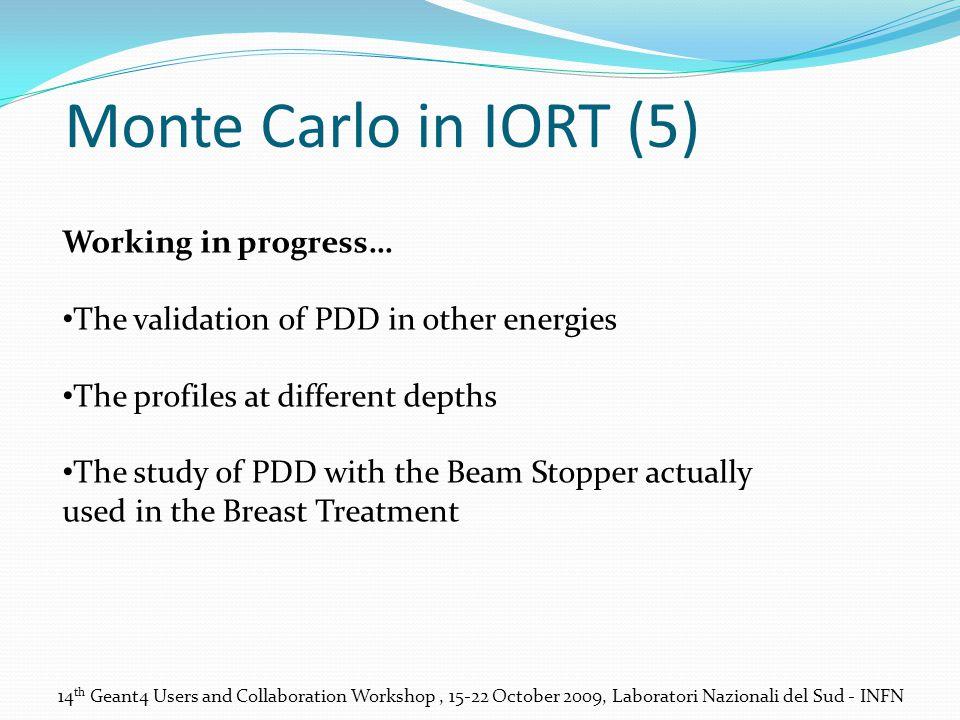 14 th Geant4 Users and Collaboration Workshop, 15-22 October 2009, Laboratori Nazionali del Sud - INFN Monte Carlo in IORT (5) Working in progress… Th