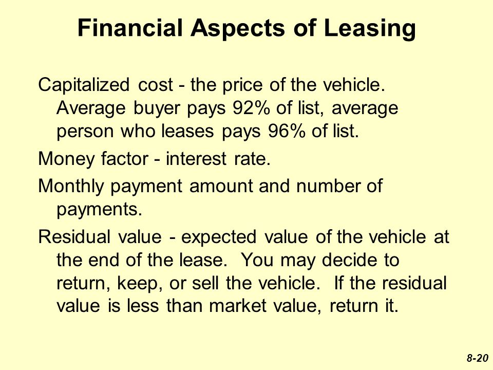 Financial Aspects of Leasing Capitalized cost - the price of the vehicle.