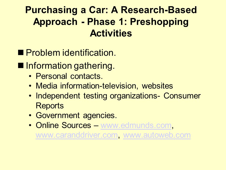 Purchasing a Car: A Research-Based Approach - Phase 1: Preshopping Activities Problem identification.