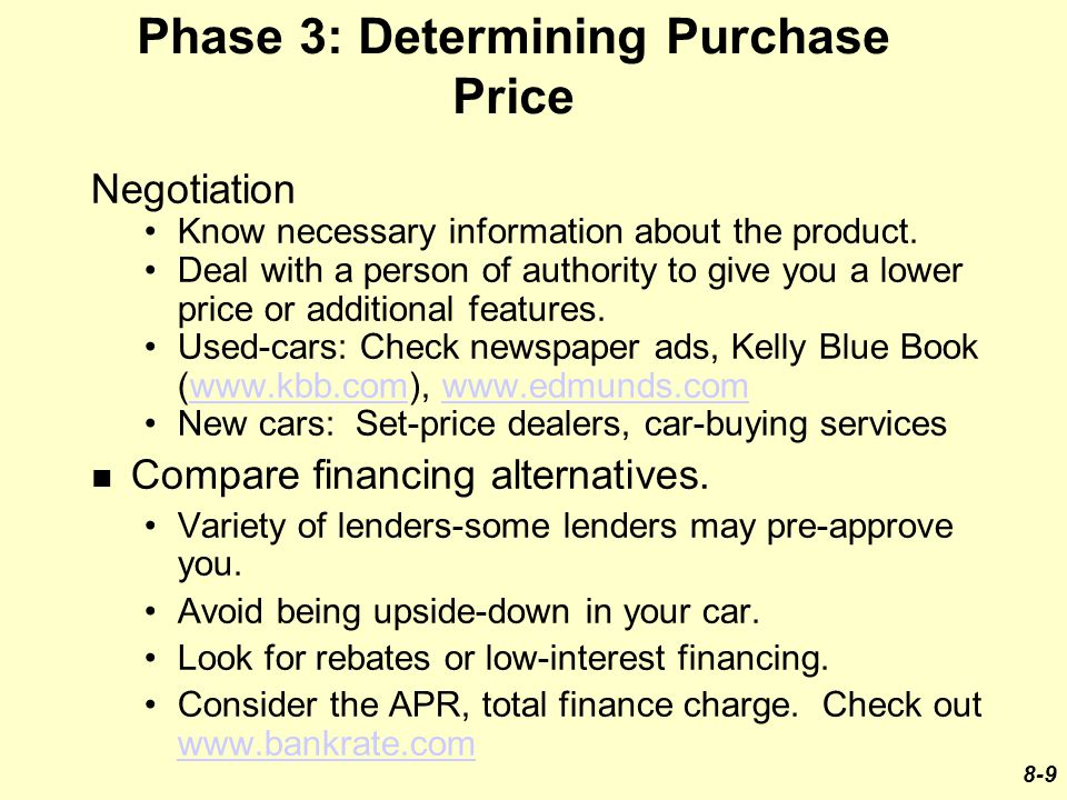 Phase 3: Determining Purchase Price Negotiation Know necessary information about the product.