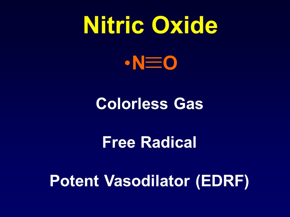 Nitric Oxide N O Colorless Gas Free Radical Potent Vasodilator (EDRF)