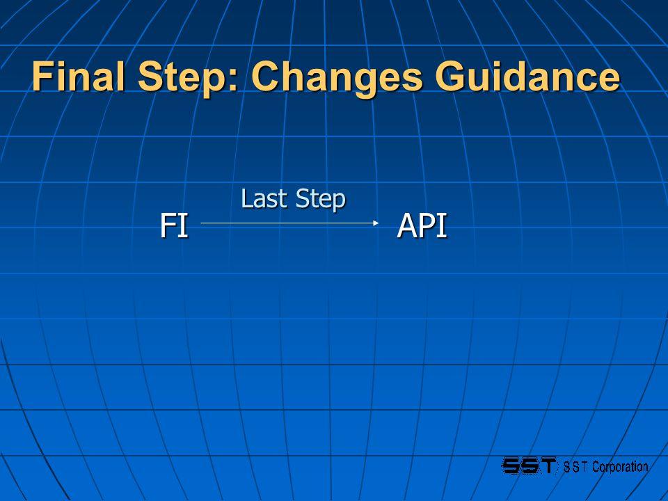 Final Step: Changes Guidance FI API FI API Last Step