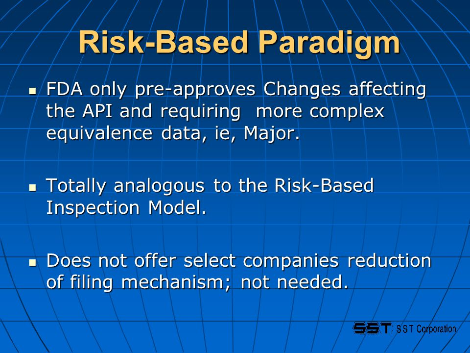 Risk-Based Paradigm Risk-Based Paradigm FDA only pre-approves Changes affecting the API and requiring more complex equivalence data, ie, Major.