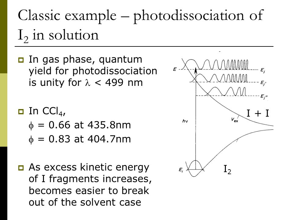 Classic example – photodissociation of I 2 in solution  In gas phase, quantum yield for photodissociation is unity for < 499 nm  In CCl 4,  = 0.66 at 435.8nm  = 0.83 at 404.7nm  As excess kinetic energy of I fragments increases, becomes easier to break out of the solvent case I2I2 I + I