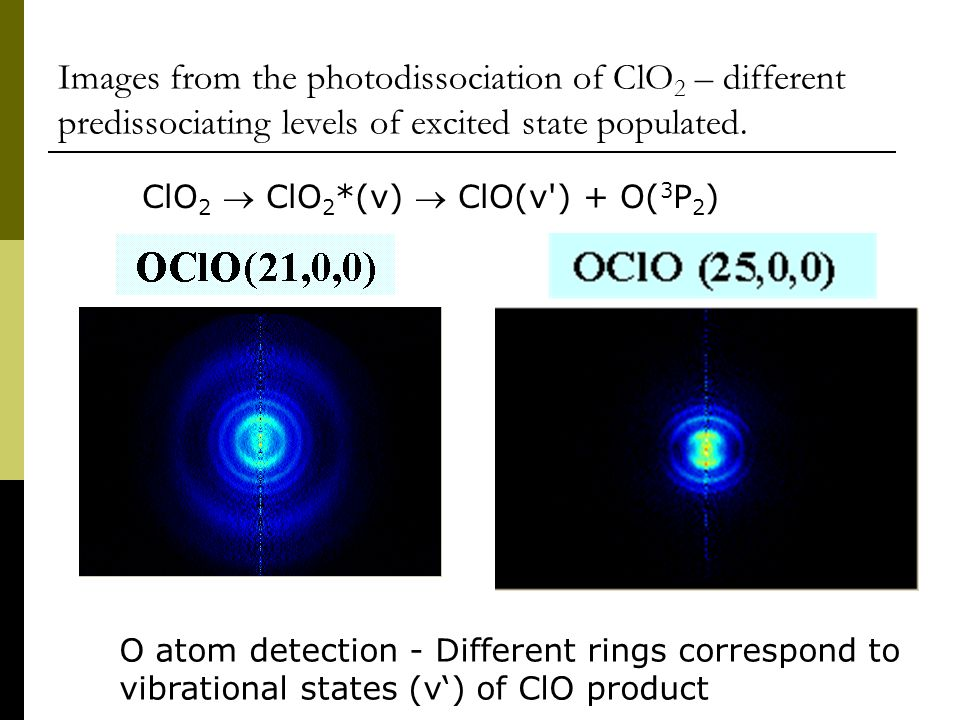 Images from the photodissociation of ClO 2 – different predissociating levels of excited state populated.