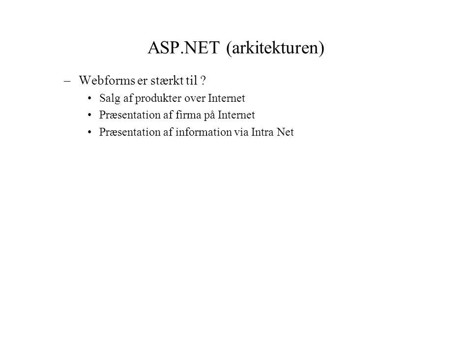 ASP.NET (arkitekturen) –Webforms er stærkt til .