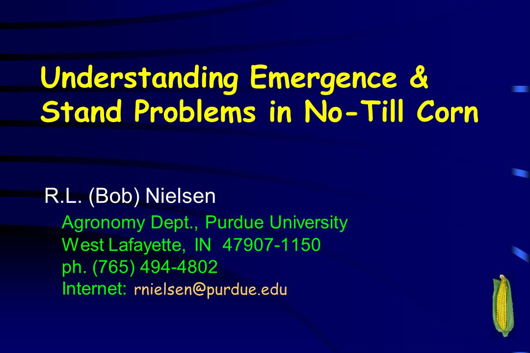 Understanding Emergence & Stand Problems in No-Till Corn R.L. (Bob) Nielsen Agronomy Dept., Purdue University West Lafayette, IN 47907-1150 ph. (765)