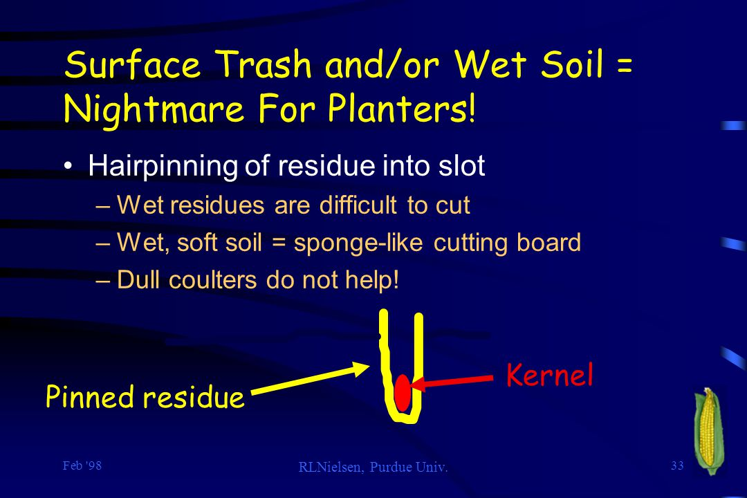 Feb '98 RLNielsen, Purdue Univ. 33 Surface Trash and/or Wet Soil = Nightmare For Planters! Hairpinning of residue into slot –Wet residues are difficul