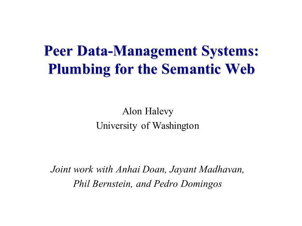 2 Agenda Elements of the Semantic Web Piazza: a peer data-management system –A database guy's contribution to the semantic web The key issue: mapping between different models: –Some recent progress and current directions.