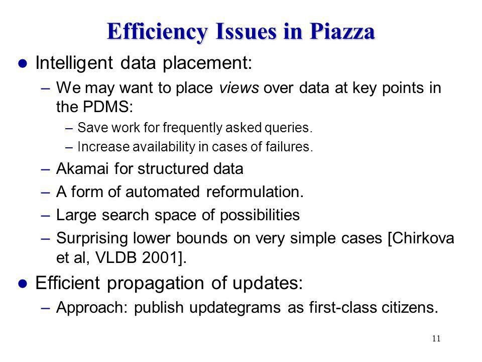 11 Efficiency Issues in Piazza Intelligent data placement: –We may want to place views over data at key points in the PDMS: –Save work for frequently asked queries.