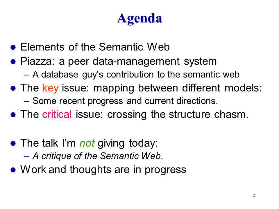 3 The Semantic Web (my view) Web sites include structural annotations –You can pose meaningful queries on them.