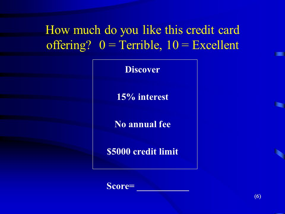 How much do you like this credit card offering? 0 = Terrible, 10 = Excellent Discover 15% interest No annual fee $5000 credit limit Score= ___________