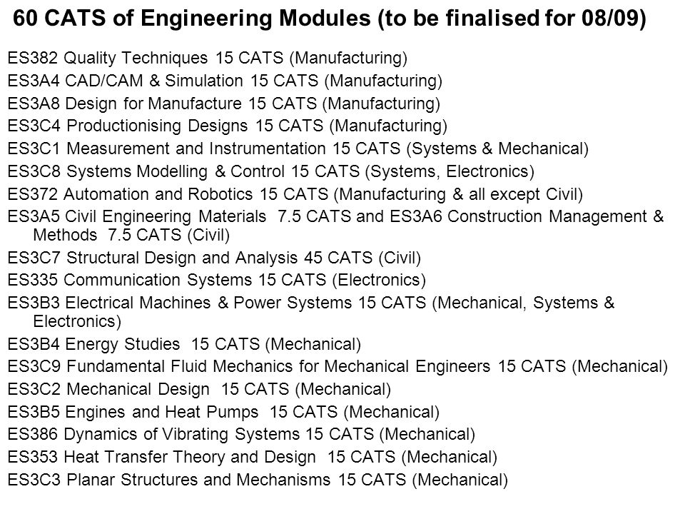 60 CATS of Engineering Modules (to be finalised for 08/09) ES382 Quality Techniques 15 CATS (Manufacturing) ES3A4 CAD/CAM & Simulation 15 CATS (Manufacturing) ES3A8 Design for Manufacture 15 CATS (Manufacturing) ES3C4 Productionising Designs 15 CATS (Manufacturing) ES3C1 Measurement and Instrumentation 15 CATS (Systems & Mechanical) ES3C8 Systems Modelling & Control 15 CATS (Systems, Electronics) ES372 Automation and Robotics 15 CATS (Manufacturing & all except Civil) ES3A5 Civil Engineering Materials 7.5 CATS and ES3A6 Construction Management & Methods 7.5 CATS (Civil) ES3C7 Structural Design and Analysis 45 CATS (Civil) ES335 Communication Systems 15 CATS (Electronics) ES3B3 Electrical Machines & Power Systems 15 CATS (Mechanical, Systems & Electronics) ES3B4 Energy Studies 15 CATS (Mechanical) ES3C9 Fundamental Fluid Mechanics for Mechanical Engineers 15 CATS (Mechanical) ES3C2 Mechanical Design 15 CATS (Mechanical) ES3B5 Engines and Heat Pumps 15 CATS (Mechanical) ES386 Dynamics of Vibrating Systems 15 CATS (Mechanical) ES353 Heat Transfer Theory and Design 15 CATS (Mechanical) ES3C3 Planar Structures and Mechanisms 15 CATS (Mechanical)