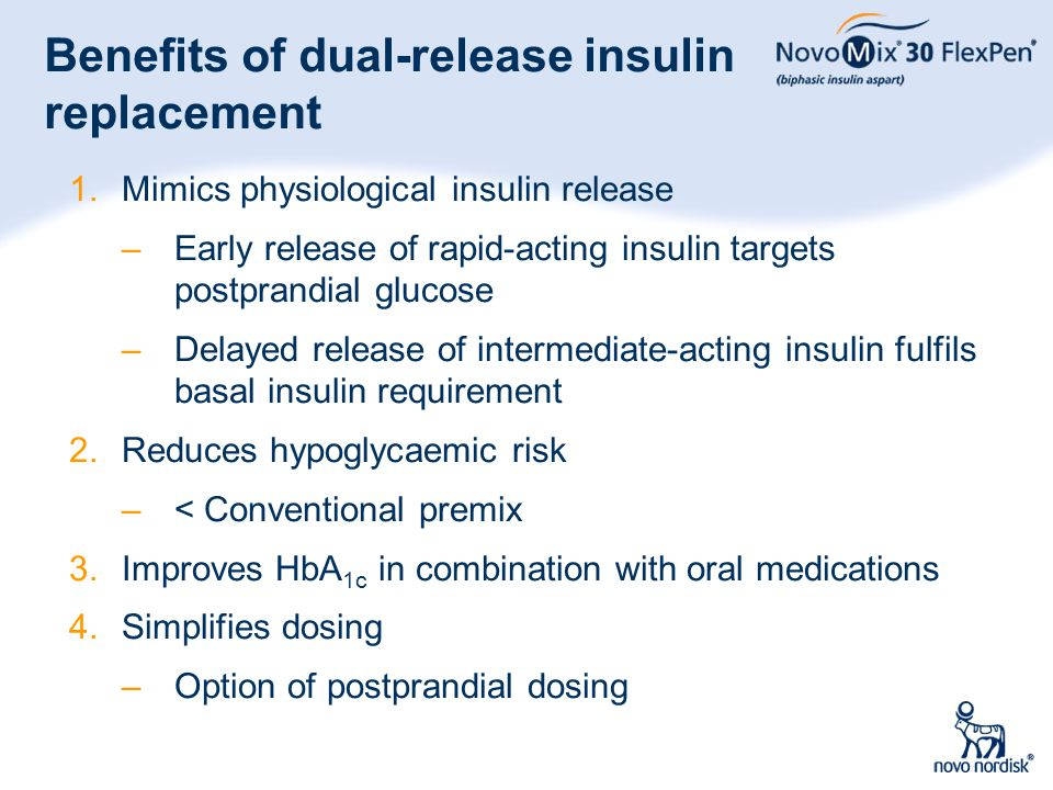 8 Benefits of dual-release insulin replacement 1.Mimics physiological insulin release –Early release of rapid-acting insulin targets postprandial gluc