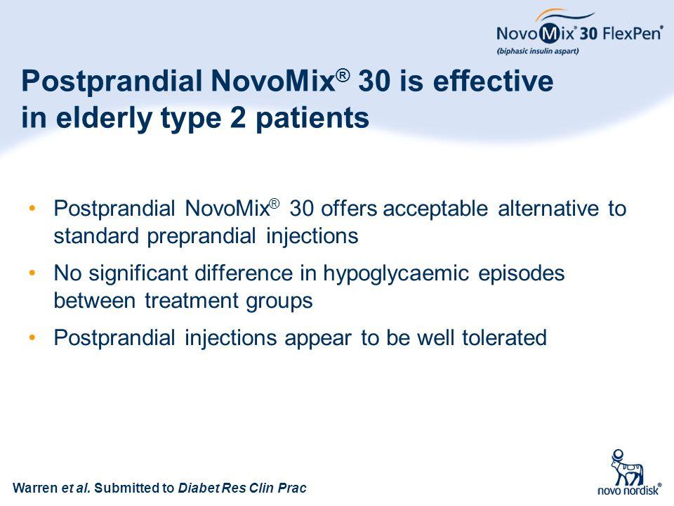 84 Postprandial NovoMix ® 30 is effective in elderly type 2 patients Postprandial NovoMix ® 30 offers acceptable alternative to standard preprandial i