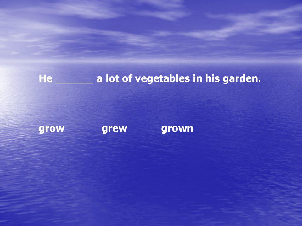 He ______ a lot of vegetables in his garden. growgrewgrown