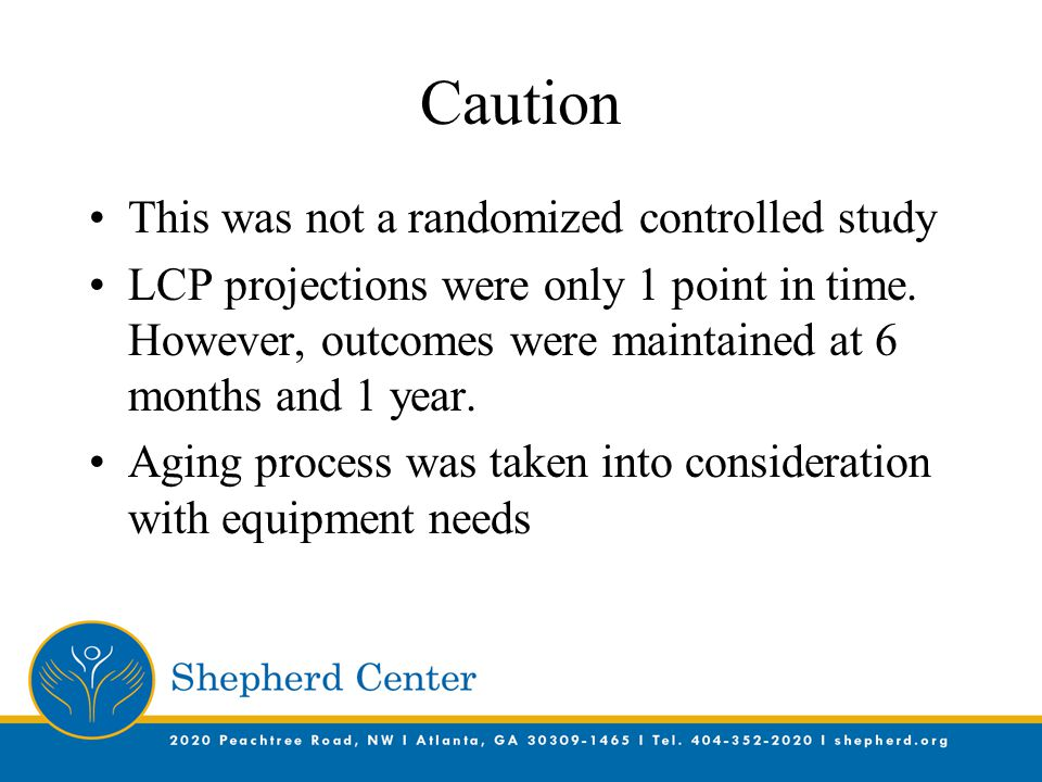 Caution This was not a randomized controlled study LCP projections were only 1 point in time.