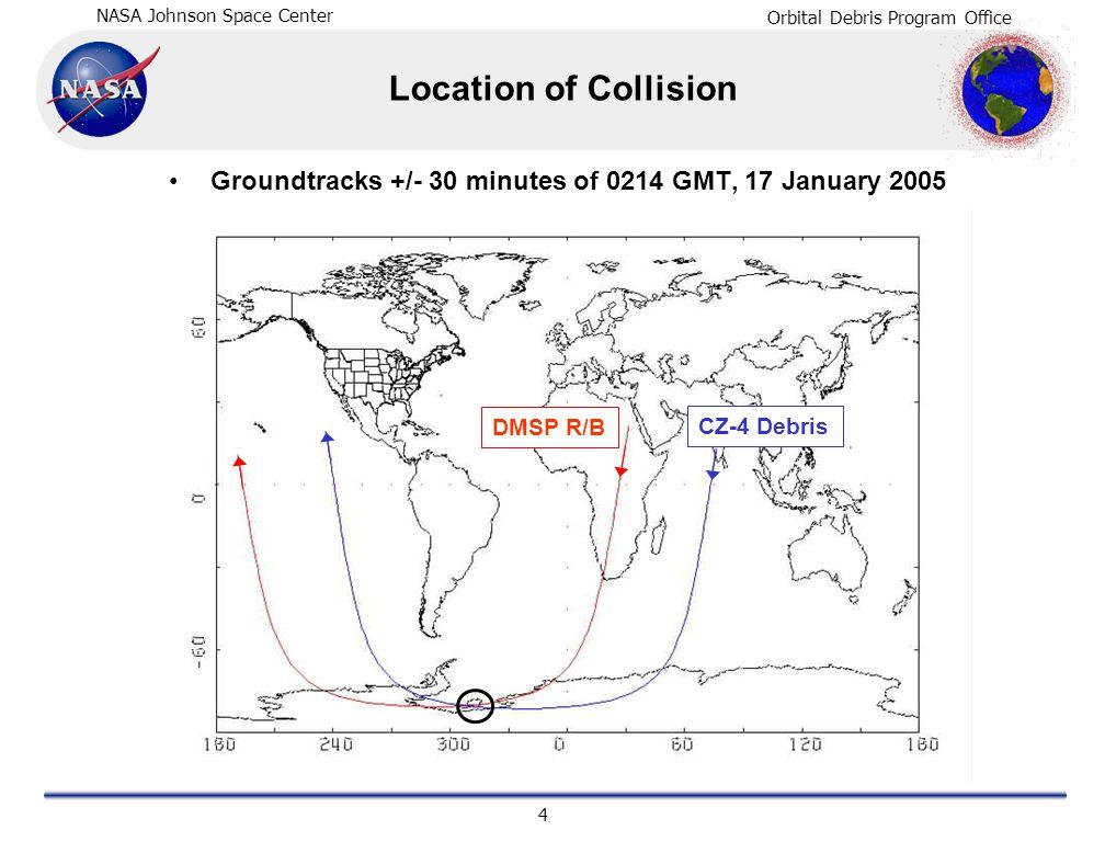 NASA Johnson Space Center Orbital Debris Program Office 4 Location of Collision Groundtracks +/- 30 minutes of 0214 GMT, 17 January 2005 DMSP R/B CZ-4 Debris