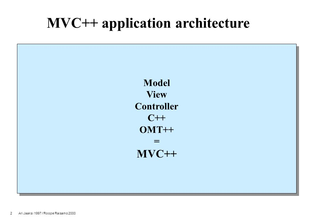 2 Ari Jaaksi 1997 / Roope Raisamo 2000 MVC++ application architecture Model View Controller C++ OMT++ = MVC++ Model View Controller C++ OMT++ = MVC++
